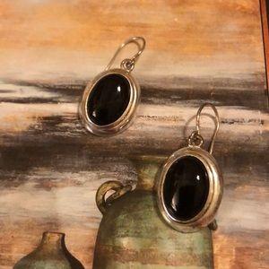 Onyx earrings in a beautiful setting.